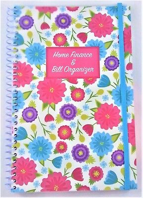 Home Finance & Bill Organizer with Pockets Multi-Colored Flowers