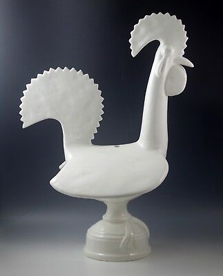 "Mid Century Huge Ceramic Rooster Lamp Very Modern Made In Spain White 20"" #2"