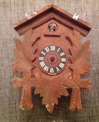 Antique Black Forest Cuckoo Clock For Restoration Or Spare Parts 21x16x9cm