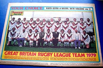 """GREAT BRITAIN RUGBY LEAGUE  SQUAD 79 COLOUR  POSTER FROM  MAGAZINE  APP 11"""" x 8"""""""