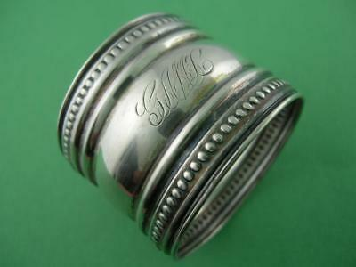 Victorian Sterling Silver NAPKIN RING w/ beaded borders