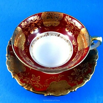 Kunst Kronach Deep Red and Gold Bavaria Germany Tea Cup and Saucer Set