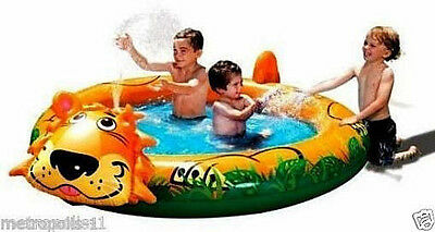 Banzai Kids Spray 'n Splash Lion Pool With Water Sprinkler,jungle Graphics,new