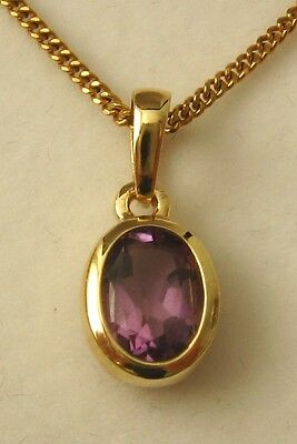 8x6 GENUINE SOLID 9K 9ct YELLOW GOLD AMETHYST PENDANT