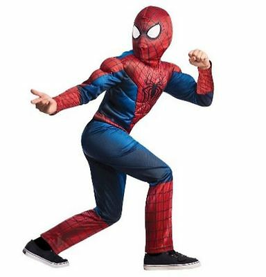 Spider Man Halloween Boy's Costume Muscle Chest Jumpsuit Mask Size L Age 8 9 10