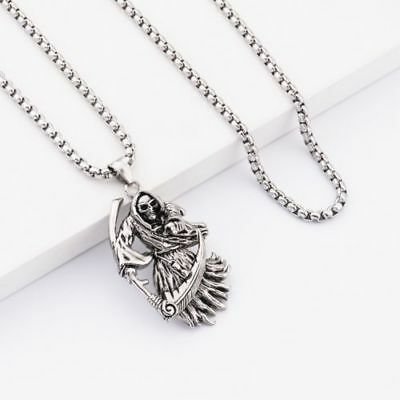Men's Gothic Grim Reaper Skull Pendant Necklace Stainless Steel Angel of Death