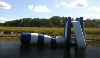 on-water inflatable 22' long person launcher and 12' diving tower w/ slide