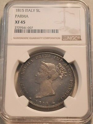 1815 5L NGC XF 45 Parma Italy Silver Five Lire, Maria Luigia, Sharp Italian Coin