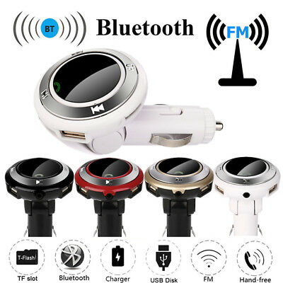 Bluetooth Wireless FM Transmitter Car Kit Hands-Free USB Charge LED MP3 With Mic