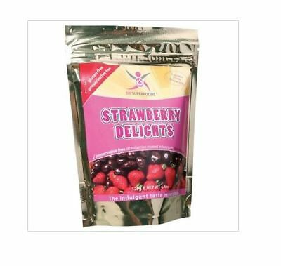 3 x 125g DR SUPERFOODS Strawberry Delights - Dark Chocolate Coated Strawberries