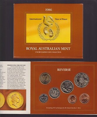 1986 Australia International Year of Peace UNC Uncirculated Mint Coin Set