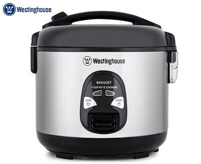 Westinghouse 7 Cup Rice Cooker - Black/Brushed Stainless Steel