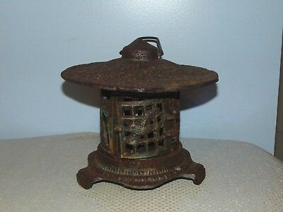Vintage Cast Iron Garden Pagoda Hanging Lantern Candle Holder Japanese Bird