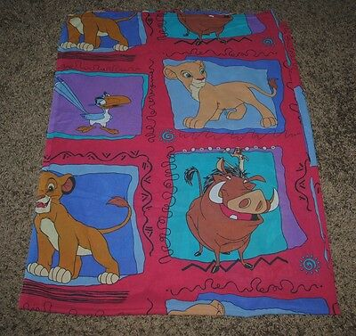 The Lion King Original Flat Twin Bed Sheet Vintage Disney Simba Nala Pumbaa 1994