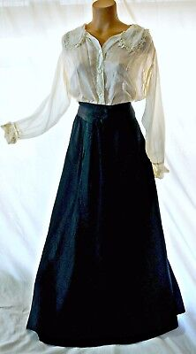 Antique Edwardian 1900s, 1910s silk skirt and blouse,  M