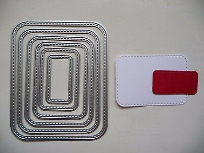 Thin Metal Cutting Die Nesting Stitched Curved Rectangles Nested Dies Sizzix