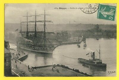 """cpa RARE 76 - DIEPPE Sortie du 4 MÂTS """" CHAMPIGNY """" Voilier Sailing Four masted"""