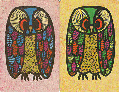 Genuine Swap/Playing Cards - 2 SINGLEAIR - FANTASTIC OWLS
