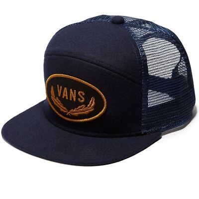 4dcaae035dc Vans Off The Wall Sign Six Panel Trucker Blue Hat Cap NWT One Size  Embroidered