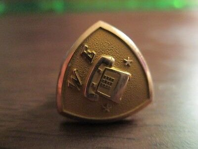 Vintage Western Electric Telephone Service Pin 10k Yellow Gold 2 stars