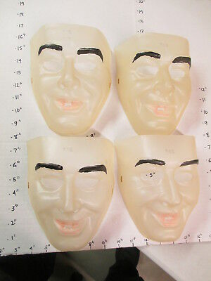 halloween mask 1970s human clear face male painted eyebrows lips MAN #1