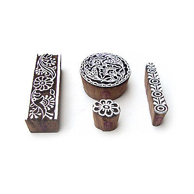 Round and Border Designer Motif Block Print Wood Stamps (Set of 4)