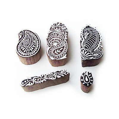 Paisley and Assorted Hand Made Pattern Wood Block Print Stamps (Set of 5)