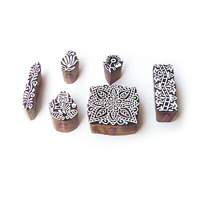 Ganesha and Square Artistic Motif Wood Block Stamps (Set of 6)