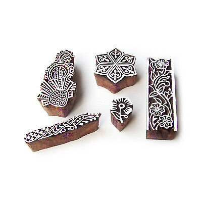 Hexa and Border Designer Motif Wood Block Stamps (Set of 5)