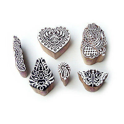 Butterfly and Heart Ethnic Pattern Wood Block Print Stamps (Set of 6)