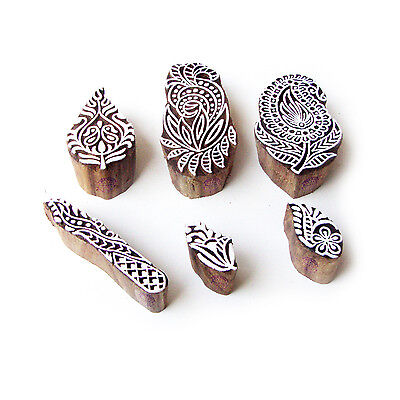 Paisley and Leaf Contemporary Motif Block Print Wood Stamps (Set of 6)