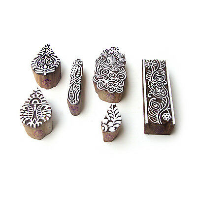 Leaf and Border Handmade Motif Block Print Wood Stamps (Set of 6)