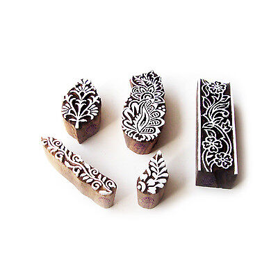 Assorted and Floral Indian Motif Wood Block Stamps (Set of 5)