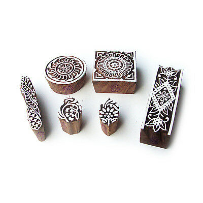 Assorted and Floral Designer Motif Block Print Wood Stamps (Set of 6)