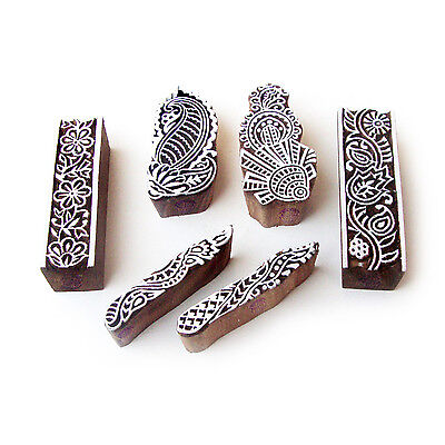 Border and Leaf Hand Carved Pattern Wood Block Print Stamps (Set of 6)