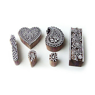 Heart and Paisley Artistic Pattern Wood Block Print Stamps (Set of 6)