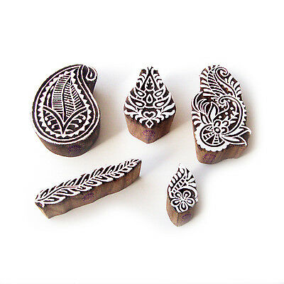 Paisley and Floral Handmade Motif Wood Block Stamps (Set of 5)