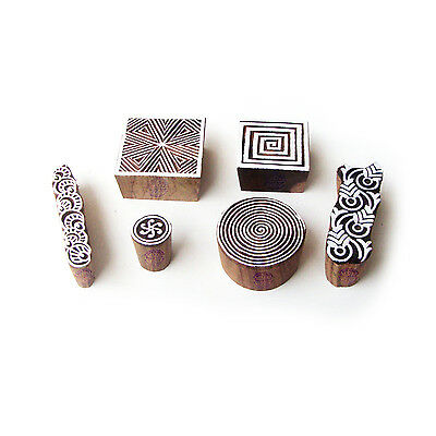 Spiral and Square Decorative Pattern Wood Block Print Stamps (Set of 6)