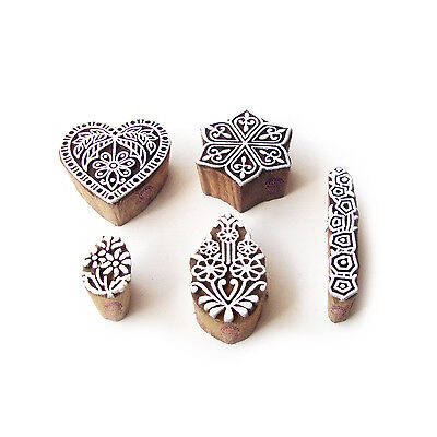 Hexa and Heart Handcrafted Motif Wood Block Stamps (Set of 5)
