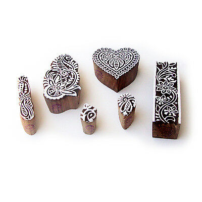 Heart and Floral Jaipuri Motif Block Print Wood Stamps (Set of 6)