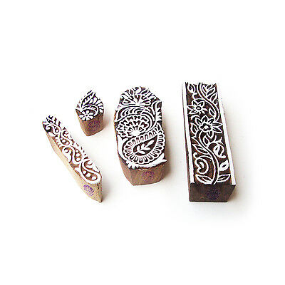 Border and Floral Original Motif Block Print Wood Stamps (Set of 4)