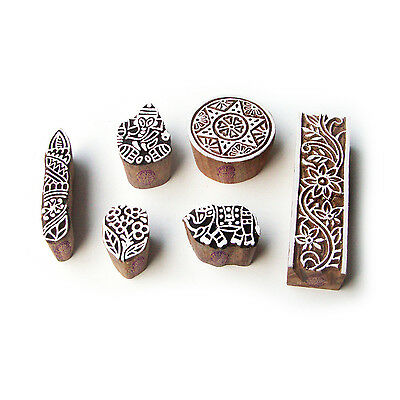 Elephant and Ganesha Handmade Motif Wood Block Stamps (Set of 6)