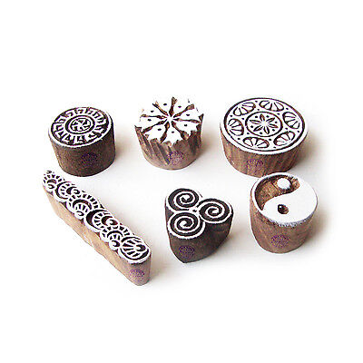 Round and Floral Ethnic Motif Block Print Wood Stamps (Set of 6)
