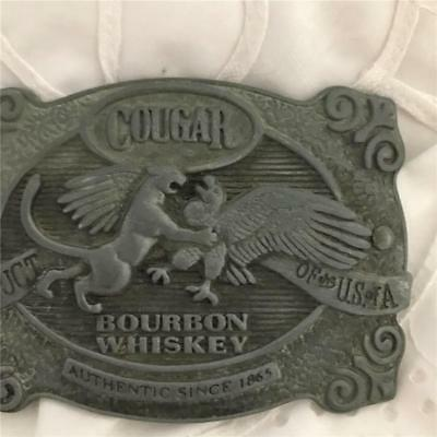 Vintage Cougar - Bourbon Whiskey Silver Belt Buckle  x 1   ( Metal )