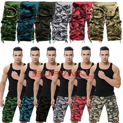 Mens New Cargo Army Camouflage Shorts Casual Summer Pants Sizes 32 To 37