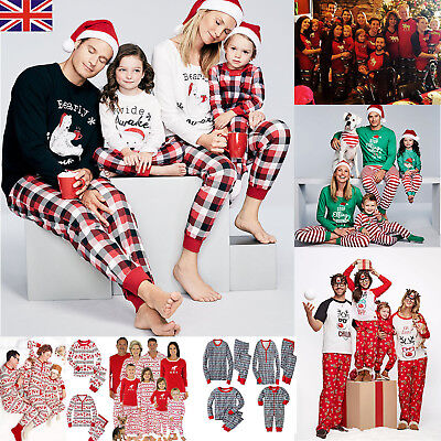 UK Family Matching Christmas Pajamas PJs Sets Kids Parents Sleepwear Nightwear