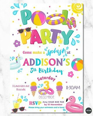 Pool Party Invitations Invite Summer Girls Inflatable Floats Personalised