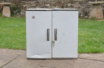 Vintage first aid cabinet old metal medical cabinet lockable - FREE POSTAGE