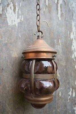 Old Reclaimed Copper & Glass Hanging Porch Lantern light lamp lighting