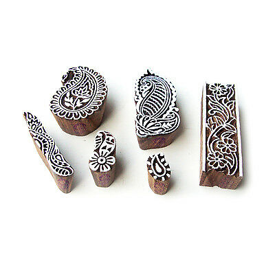 Paisley and Floral Artistic Motif Wood Block Stamps (Set of 6)